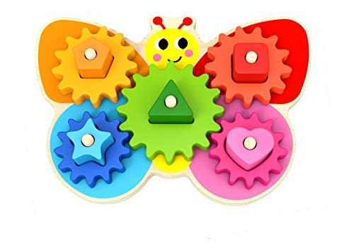 Juego de Mesa Mariposa con Engranajes - Juguete de Madera para Niños Pequeños - Juego Educativo para Niños de 3 Años - Material Montessori con Ruedas para Aprender Colores y Formas