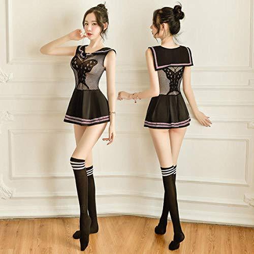 Corsés para mujer Conjuntos de lencería para mujer Ropa interior sexy Ropa de estudiante sexy para mujer Solapa Jacquard Vestido de red de mariposa Falda Sailor Night Fire Seduction Set-Black + Calce