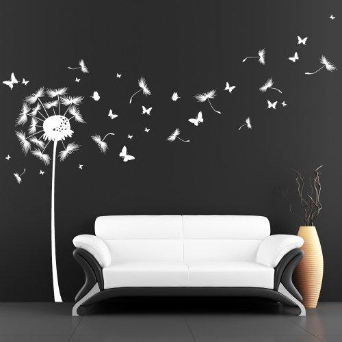 Lámina de Pared Loft Diente de León con Muchas Mariposas - Lámina de Pared / 49 Colores / 4 Tallas - Vinilo, Blanco, 115 x 187 cm