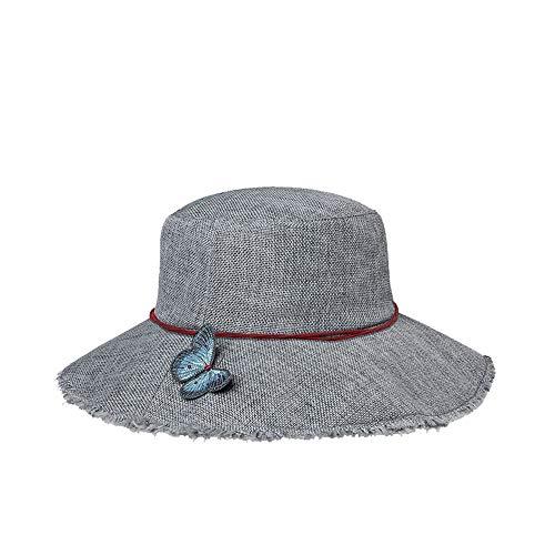 Señora del verano decoración de la mariposa hecho a mano sombrero para el sol viaje al aire libre senderismo sombrero para el sol con estilo sombrero de pescador transpirable ( Color : Gray )