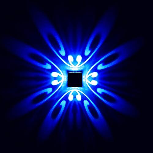 uksunvi LED Lámpara de pared 3W AC85-265V Patrón de mariposa Lámparas de pared de aluminio de estilo moderno 420-500nm (azul)