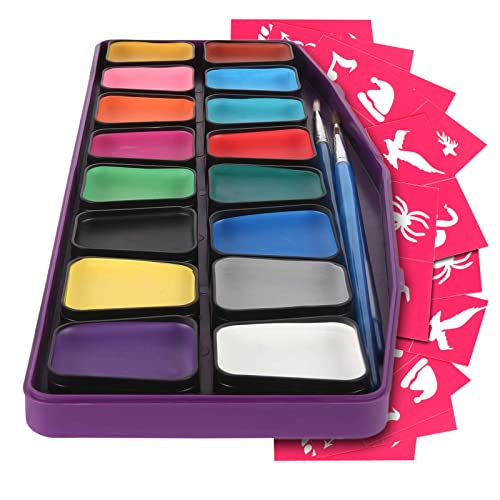 Colorful Art Co Set Pintura facial - Pintura facial infantil premiada - Kit pintura profesional para pieles sensibles - 16 recipientes grandes - 30 plantillas - 3 pinceles - No tóxicos - Base de agua