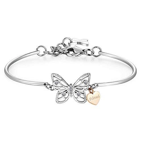 Brosway Pulsera Chakra Mariposa Semi rígida para Mujer en Acero y Cristales BHK402