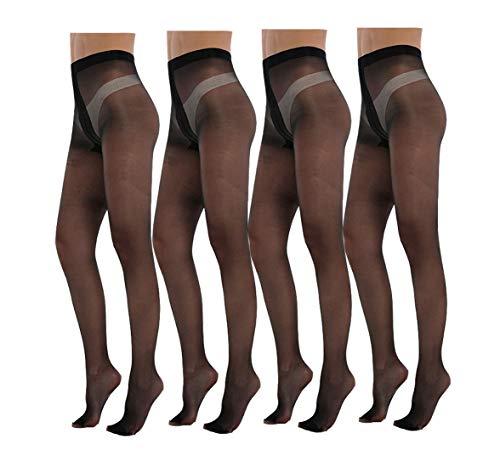 Yulaixuan pantimedias para mujer 4 pares de longitud completa Reforzada T entrepierna patas 15 Denier medias transparentes (4 negro)