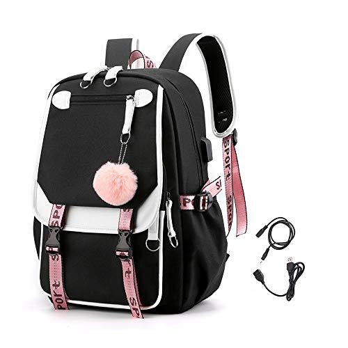 KEBEIXUAN, bolsa de estudiante de escuela intermedia, interfaz lateral USB de configuración informal de mochila BTS college y conector para auriculares. (Negro)