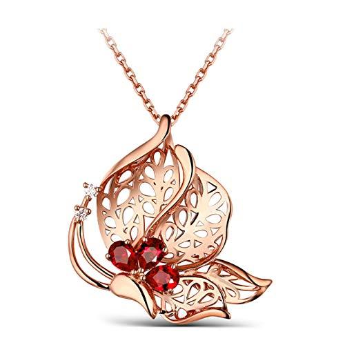 ANAZOZ 18K Oro Rosa Colgante Collar Mujer Rojo Collar Mariposa Rubí Rojo Blanco 1.5ct