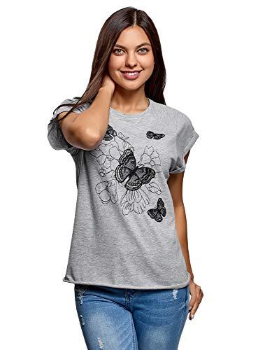 oodji Ultra Mujer Camiseta de Algodón con Bordado, Gris, ES 38 / S