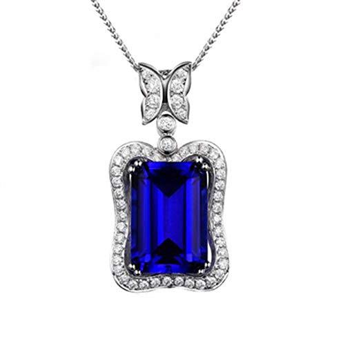 Daesar Collar Cadena Oro Blanco 18K Mujer Collar Rectángulo con Mariposa Tanzanita Azul 8.82ct