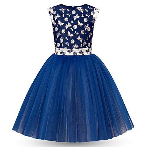 Vestido Lujoso Elegante para Niñas Jóvenes Adolescentes - Sin Mangas - Casual Princesa Cumpleaños Fiesta Dama de Honor - Falda Plisada de Organza - Diseño Azul con Mariposas