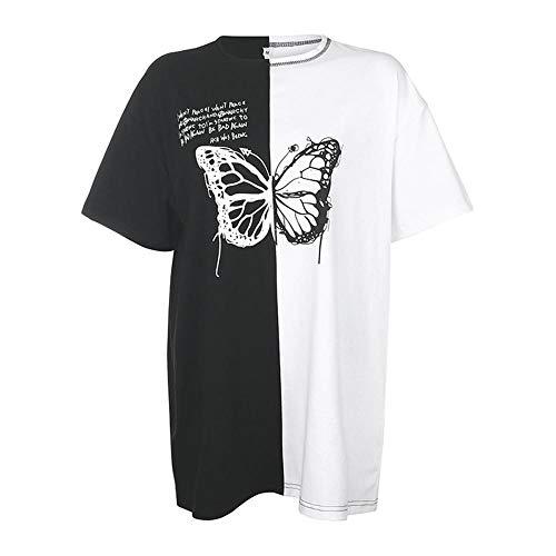 Camiseta para Mujer, Camisetas para Mujer, Camisetas De Calle con Estampado De Mariposas En Contraste De Color, Camisetas Harajuku De Manga Corta con Cuello Redondo para Mujer-Long_Tshirt_L