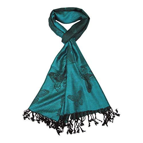 LOVARZI Bufandas de mujeres- Damas Pashmina Verde Azulado mariposa - Hermosa Pañuelos de mujer