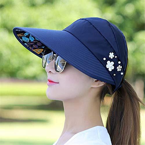 EOMJVCM Sombrero para el Sol Viseras Sombrero Pesca Sombrero de Playa Protección Ultravioleta Gorra Cola de Caballo ala Ancha Sombrero1AzulMarino