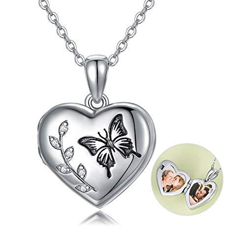 Collar de plata de ley con medallón de mariposa que sostiene fotos, colgante de memoria con cristales de Swarovski, regalos de cumpleaños para mujeres, novia, esposa o madre