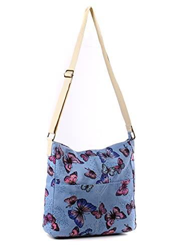 Wedmay - Bolso bandolera para mujer, diseño de búho, diseño de flores, mariposas, grande, lona, color Azul, talla Large