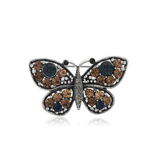 CLEARNICE Broche de Mariposa Azul Vintage, Insignia de Cristal con Diamantes de imitación, Animal, Insecto, suéter, Ramillete, broches para Mujer y niña, Pin de Solapa Hijab