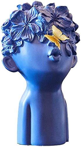 FTFTO Equipo de Vida Estatuas Estatua Cabeza Resumen Niño pequeño con Mariposa Modelo de Resina Estatuilla Artesanía Decoración del hogar Accesorios Escaparate Decoración Adorno