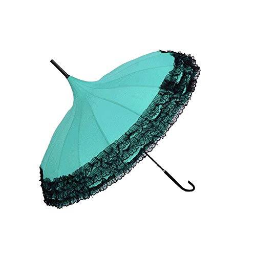 Yi-xir Experiencia Confortable Princesa Encaje Cuadrado Dama Mariposa Mango Gancho Paraguas Paraguas de Viaje Compacto (Color : 6)