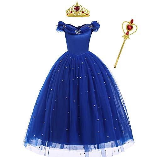 IBAKOM Disfraz infantil de princesa de Cenicienta, mariposas, hombros descubiertos, para carnaval, Halloween, cosplay, cumpleaños, Navidad, fiesta, baile con accesorios azul cobalto 8-9 Years
