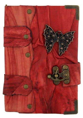 Mariposa Colgante en Diario de cuero Rojo / Diario / Bloquear / Rojo Estilo Vintage / Notebook / Papel normal / libro / Mujer / Hombre / Los niños / Trabajo de oficina
