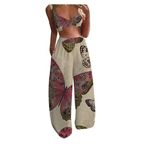 MEIbax Moda Mujeres Conjunto Camisetas de sin Mangas Casual Pantalones Holgados con Cordón Casual Trajes Boho Mujer Verano Mariposa Patrón Estampado Tops + Pantalones Conjunto de 2 Piezas de Yoga