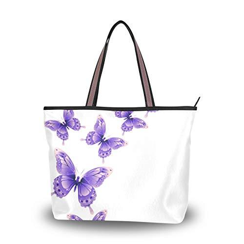 NaiiaN Bolsos de mariposa morados, bolsos de hombro, monedero, compras para madres, mujeres, niñas, mujeres, estudiantes, bolso de mano con correa liviana