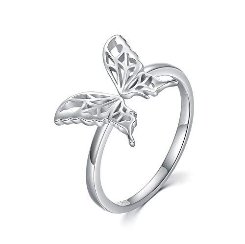 Anillo abierto de plata de ley 925 con diseño de mariposa, Anillos de Mariposa Ajustable con caja de regalo para mujeres, niñas, cumpleaños, compromiso, aniversario, anillos de promesa