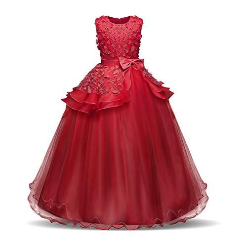 NNJXD Vestido de Princesa del Desfile con Encajes sin Mangas Falda de Fiesta para Niñas Talla (150) 10-11 años 354 Rojo-A