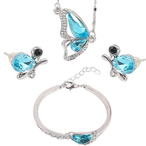 Conjunto De Joyas, Collar De Mariposa De Cristal Tachonado De Diamantes, Pulsera, Pendientes, Conjunto De Tres Piezas De Mujer De Moda Natural