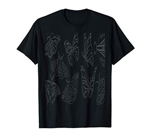 Contorno de mariposa Collage de mariposas Minimal Camiseta