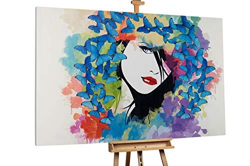 Kunstloft® Extraordinario Cuadro al óleo 'Butterflies' 180x120cm   Original Pintura XXL Pintado a Mano sobre Lienzo   Mujer Mariposa Geisha Multicolor   Mural de Arte Moderno