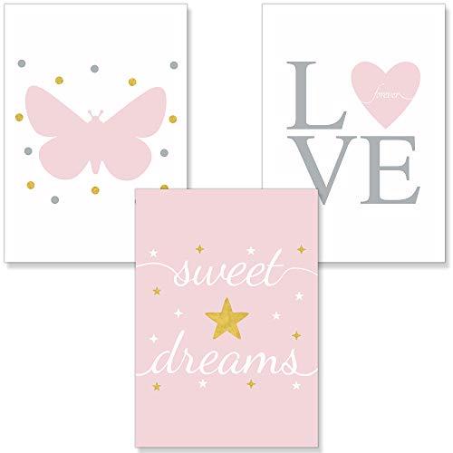 PREMYO Cuadros Infantiles Habitación Niña - Láminas Decorativas para Enmarcar - 3 Póster Corazón Mariposa Rosa A4
