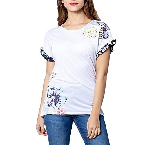 Desigual Flowers and Butterflies Camiseta Munich - blanco - X-Small