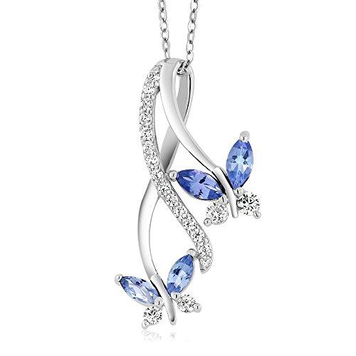 Gem Stone King Collar con colgante de plata de ley 925 con diseño de mariposa, de 1,21 quilates, piedra natal de corte marquesa con cadena de plata de 45,7 cm