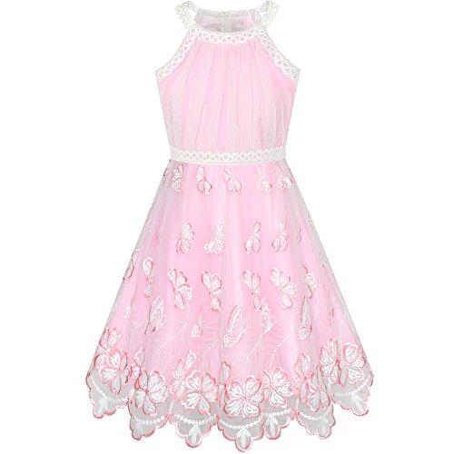 Sunny Fashion Vestido para niña Rosa Mariposa Bordado Cabestro Fiesta 12 años
