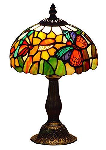 Nobeiyi Vitral Tiffany Estilo Mariposa Acento Lámpara de Mesa Anchura 8 Pulgadas 1xE14 Bombilla 25W Base de Metal de Latón Antiguo