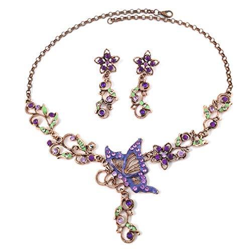 YAZILIND Exquisito Collar Mariposa Pendiente Conjunto Retro Rhinestone Boda joyería Conjuntos