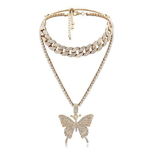 QEPOL Conjunto de Collar de eslabones cubanos de Mariposa, Gargantilla para Mujer, Collar con Colgante de Mariposa Grande, Cadena Helada con Diamantes de imitación Brillantes, Accesorio de Moda (Oro)