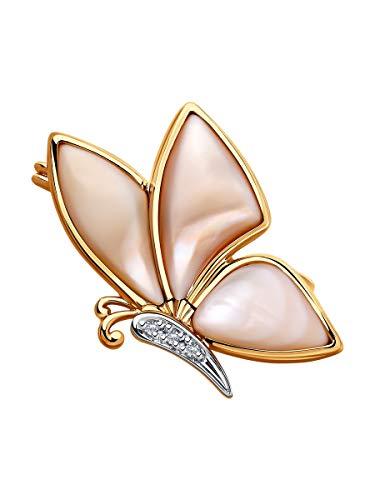 Broche de mariposa de oro rosa de 14 quilates (585) con diamantes de 0,013 quilates y nácar rosa