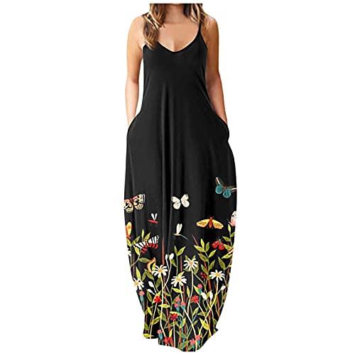 Yue668 - Vestido largo para mujer, cuello redondo, informal, estampado floral, diseño de mariposa, talla grande, redondo, vestido largo, para verano, con flores, estampado sin mangas