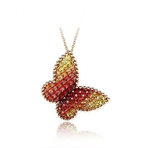 knsam–Cadena para Mujer 18K oro collar con mariposa colgante, zafiro naranja piedra 2,26quilates, Rolo Cadena 45cm Regalo para Mujeres Freundin [Fine Real joyas]