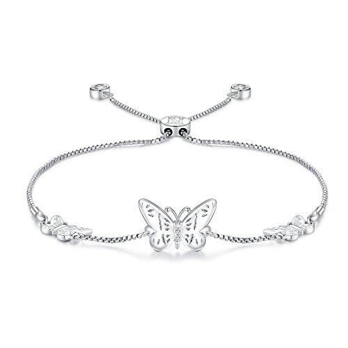 NINAMAID Pulsera expandible con cuentas de mariposa de plata, con circonita cúbica brillante, ajustable, chapado en oro blanco, regalo de joyería para mujeres y niñas blanco