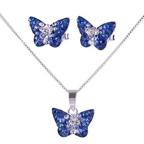 SL Silver - Conjunto de plata ley 925de cadena y pendientes infantiles de mariposa de cristal con caja de regalo.