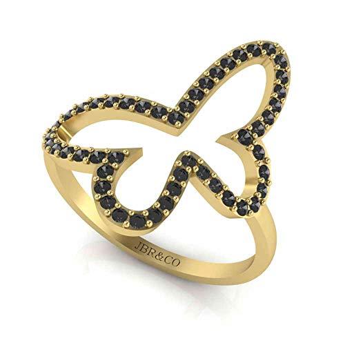 Jbr Young - Anillo de mariposa abierto para adolescentes en plata de ley, anillo de compromiso de aniversario para mujeres y firlfriend