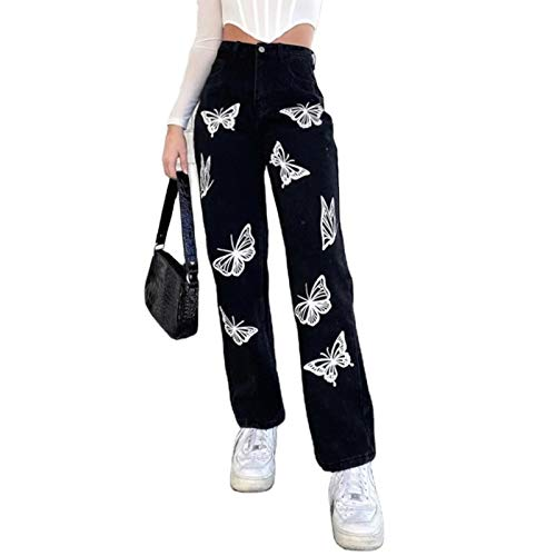 Pantalones de Cintura Alta con Estampado de Mariposas para Mujer Pantalones Anchos de Pierna Ancha elásticos Pantalones Holgados Informales Sueltos Streetwear