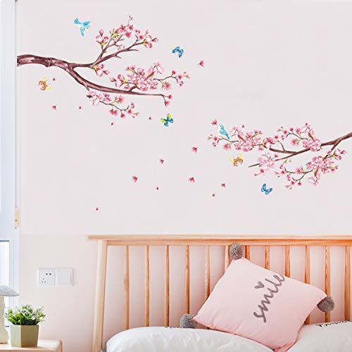 decalmile Pegatinas de Pared Flor de Cereza Vinilos Decorativos Rama Árbol Adhesivos Pared Dormitorio Salón Televisión Pared Hogar Decoración