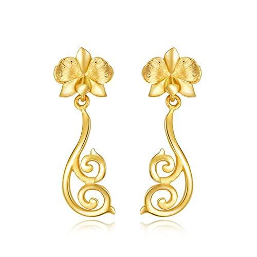 Beydodo Pendientes Oro Amarillo Mujer 18K Flor con Rama Pendientes Oro Amarillo
