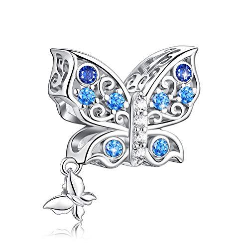 FOREVER QUEEN Abalorio de Plata de Ley 925 Encantos de Mariposa Madre Hija Para Collar de Pulsera de Dijes Abalorio de Abalorios de Mamá Mariposa