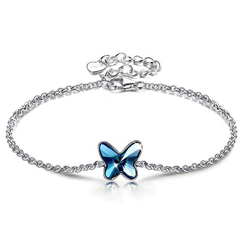 ANGEL NINA Pulsera Mujer Plata Pulseras Mariposa Azul Pulsera Plata de Ley 925 Pulsera Niña Comunion Regalo para Navidad San Valentín Cumpleaños Mejor Amigo
