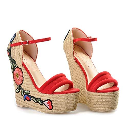 Zapatos de Plataforma Bordados de Verano para Mujeres Apliques de Flores Super tacón Alto Cuña Sandalias Elegantes