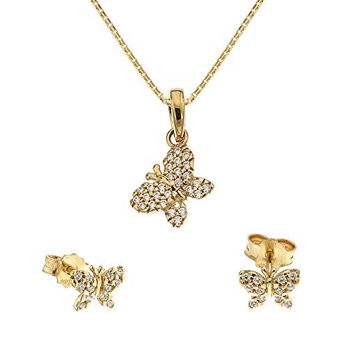 Juego de joyas de oro amarillo de 18 quilates 750/1000 con mariposas y circonitas